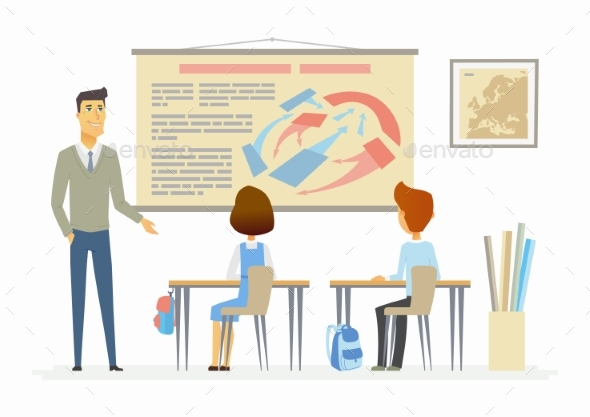 GraphicRiver History Lesson at School Modern Cartoon People 20491827