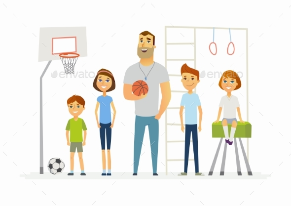 Physical Education Lesson at School - Modern - People Characters
