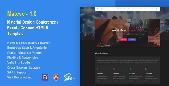 Mateve - Material Design Event / Conference / Concert HTML Template