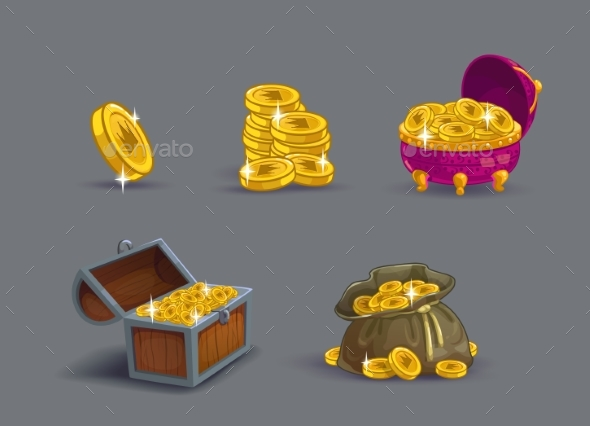 Cartoon Golden Coins Icons Set. - Objects Vectors