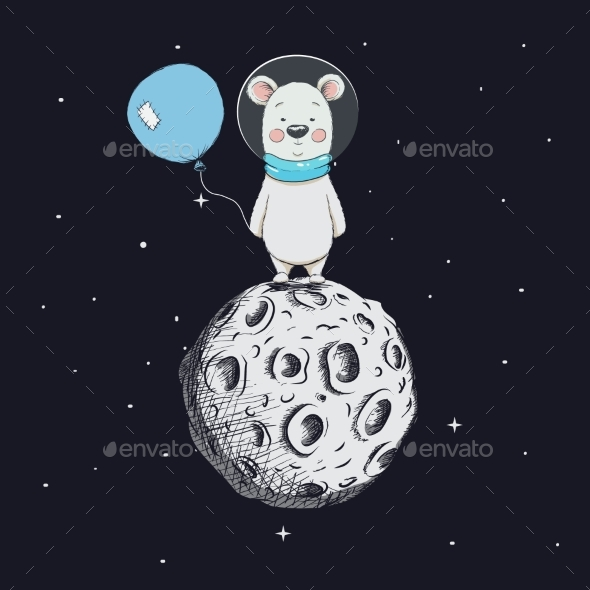 GraphicRiver Bear with Balloon Stand on Moon 20492013
