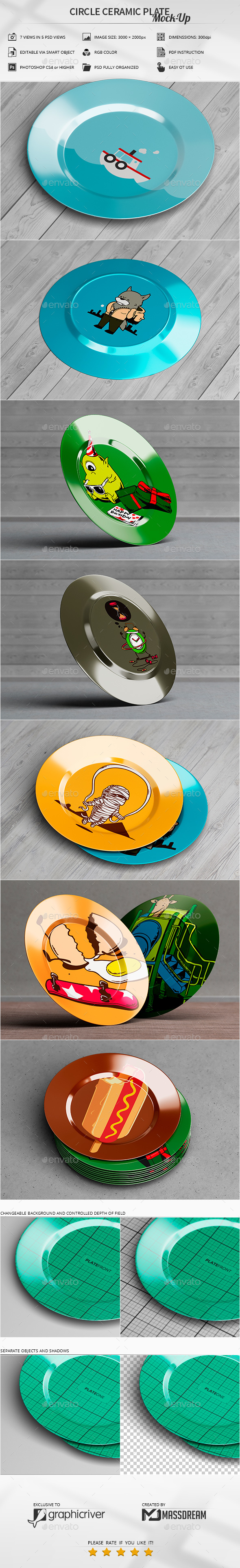GraphicRiver Circle Ceramic Plate Mock-Up 20492269