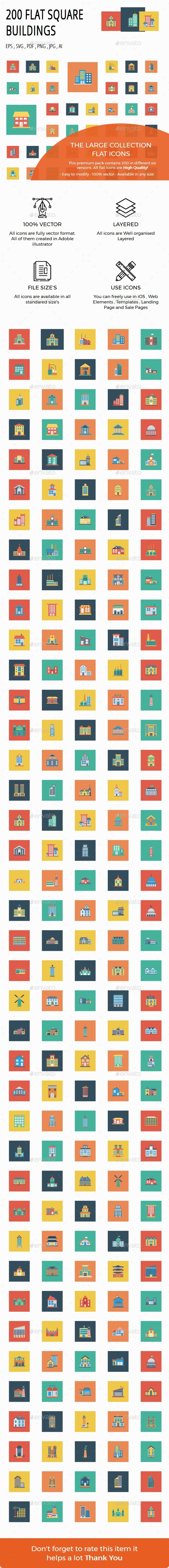 GraphicRiver 200 Building Flat Square icons 20492330
