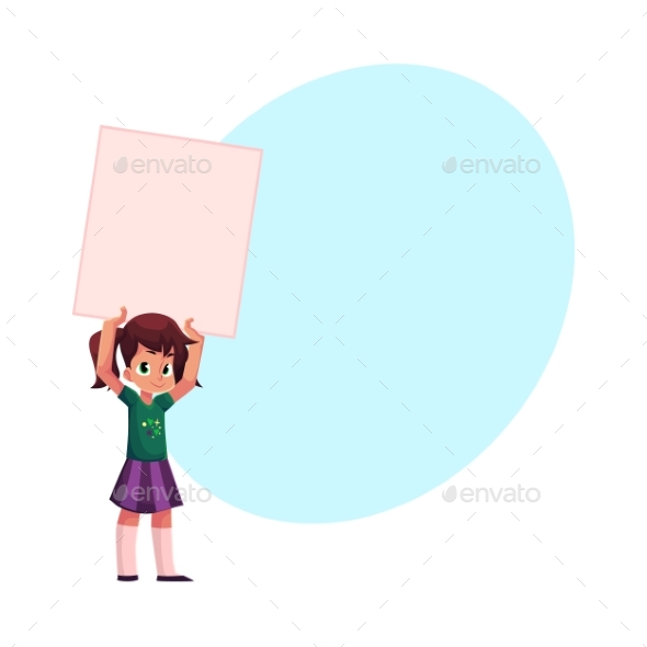 Little Girl, Child, Kid Holding Blank Empty Poster - People Characters