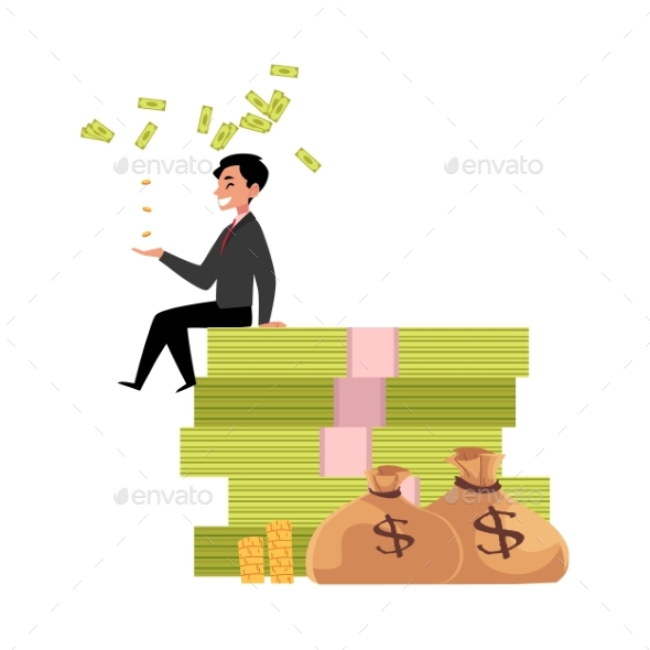 Vector Office Worker Sitting on Bundle of Money - Business Conceptual