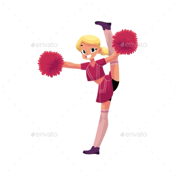 Vector Smiling Cheerleader Dancing with Pom-Poms - People Characters