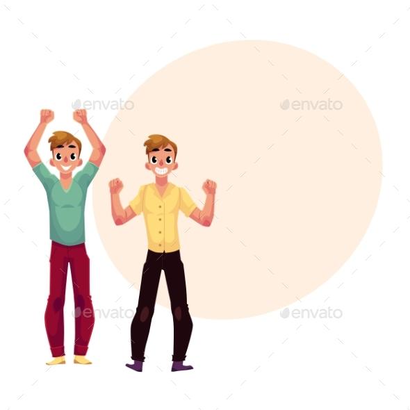 Men, Boys, Guys, Friends Rejoicing, Cheering - People Characters