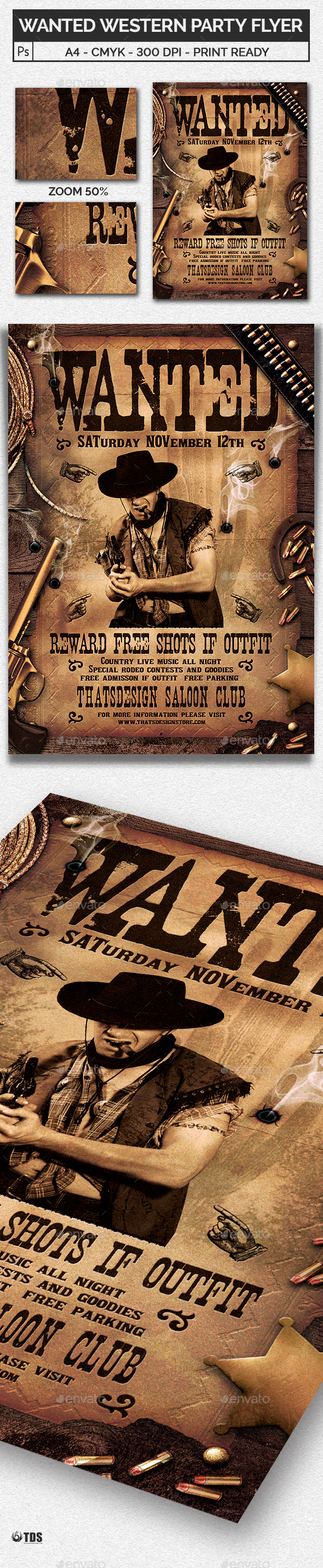 Wanted Western Party Flyer Template - Clubs & Parties Events