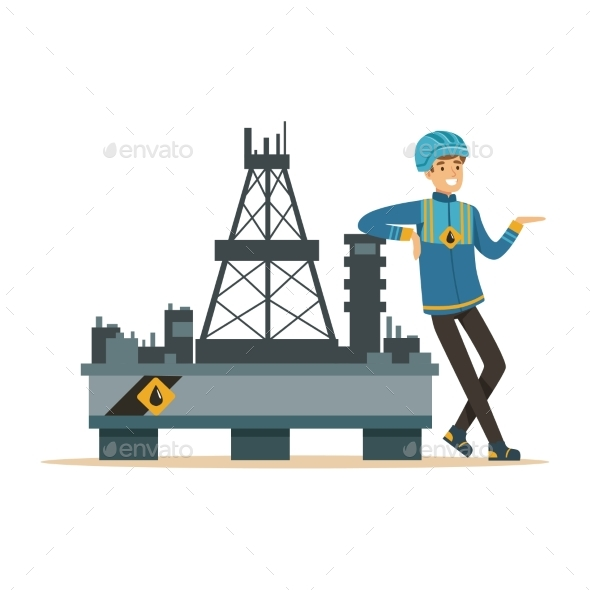 GraphicRiver Oilman Standing Next To an Oil Rig Drilling 20492494