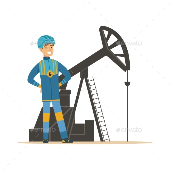 GraphicRiver Smiling Oilman Standing Next To an Oil Rig 20492498