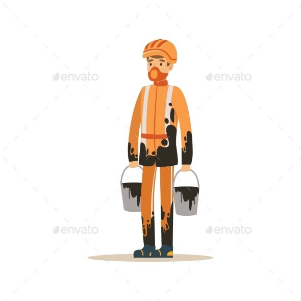 Oilman in Orange Stained Uniform Standing - Industries Business