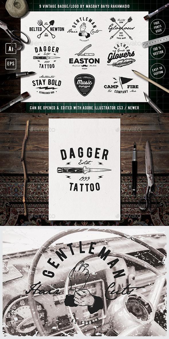 9 Hipster Vintage Badges - Badges & Stickers Web Elements