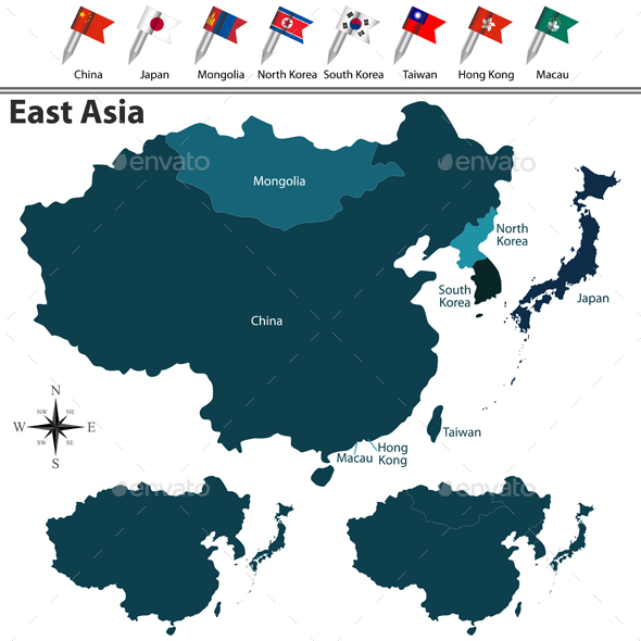 Political Map of East Asia - Travel Conceptual