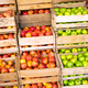 Fresh apples in wooden boxes for sale - PhotoDune Item for Sale