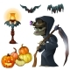 Old Witch with Scythe, Pumpkin Lantern and Bats