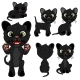 Black Kitten in Different Poses in Cartoon Style