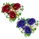 Bouquets of Red and Blue Flowers in Shape of Heart