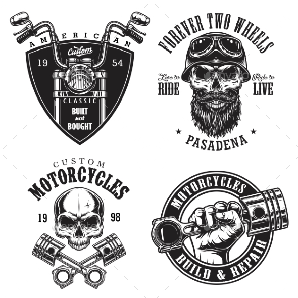 GraphicRiver Set of Custom Motorcycle Emblems 20492763