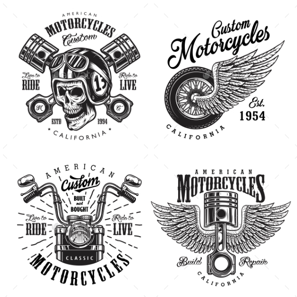 Set of Custom Motorcycle Emblems - Miscellaneous Vectors