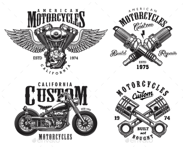 GraphicRiver Set of Custom Motorcycle Emblems 20492767