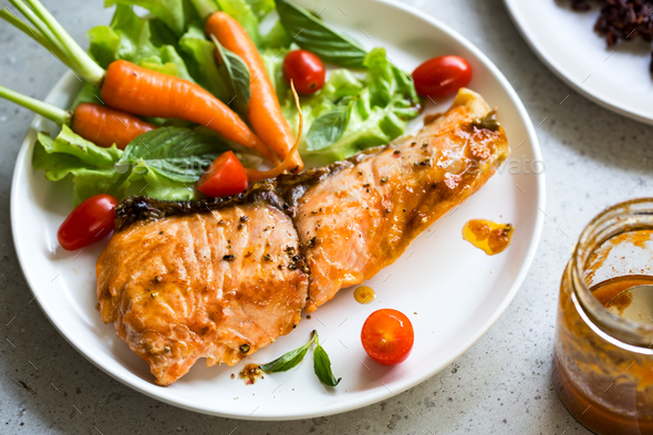 Salmon with salad  - Stock Photo - Images