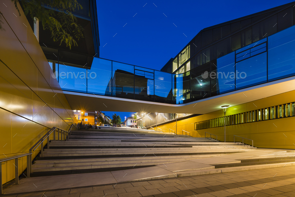 Stairs And Glass Bridge In Aachen, Germany At Night - Stock Photo - Images