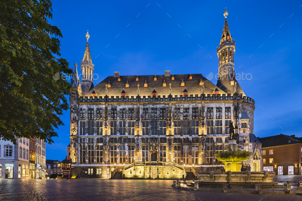 Old Aachen Town Hall At Night - Stock Photo - Images