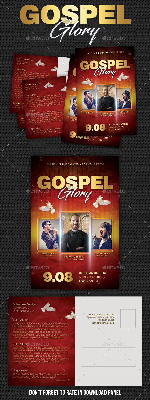 Gospel Fest Postcard V2 - Cards & Invites Print Templates