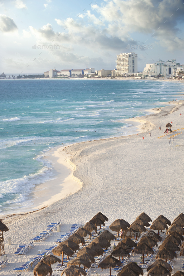 High Angle View of the Beach in Cancun Mexico - Stock Photo - Images