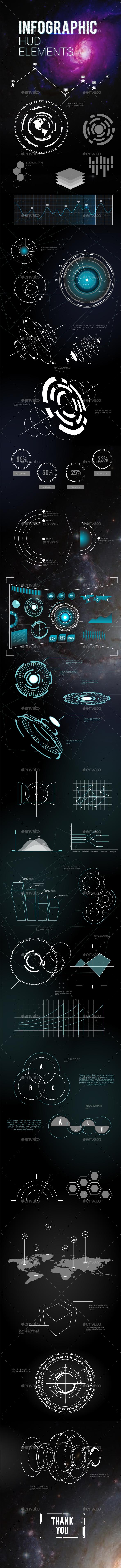 Futuristic Hud Infographics Elements - Infographics