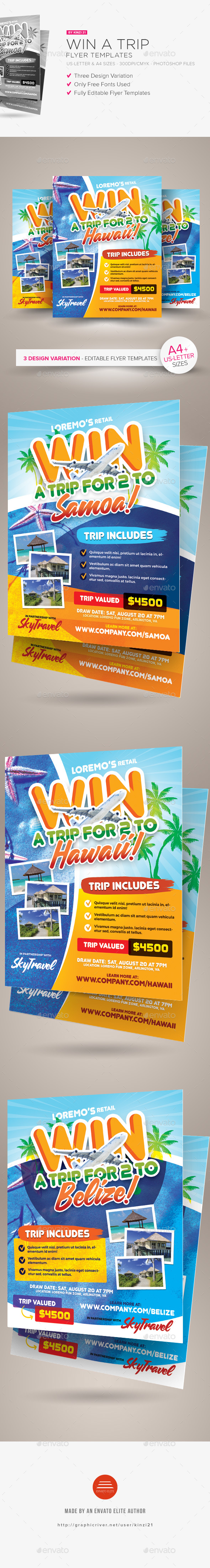 Win A Trip Flyer Templates - Holidays Events