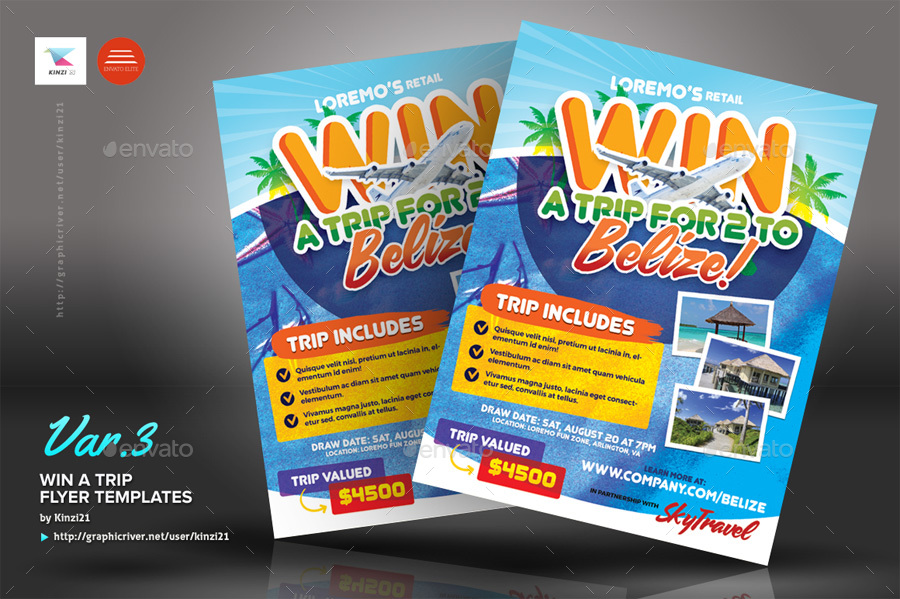 Win A Trip Flyer Templates By Kinzi21 Graphicriver