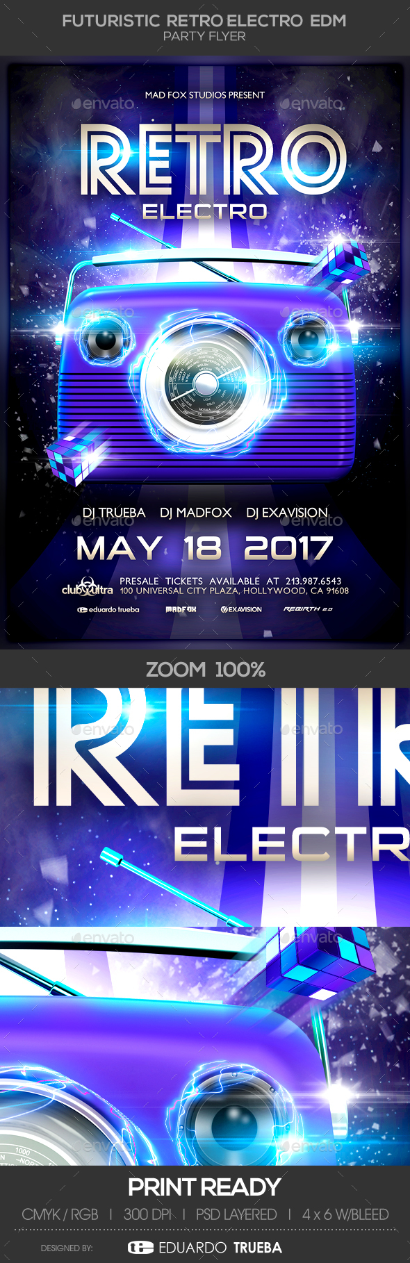 Futuristic Retro Electro EDM Party Flyer - Clubs & Parties Events