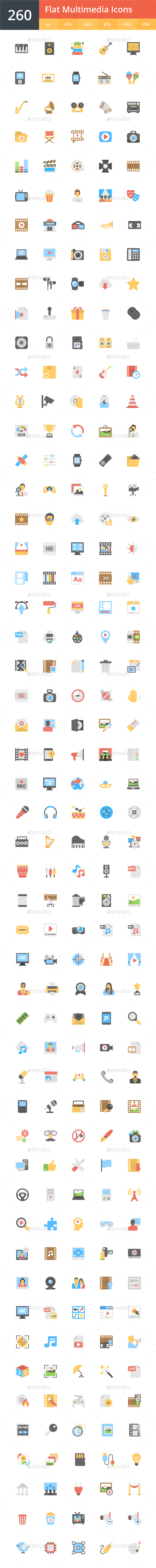 GraphicRiver 260 Flat Multimedia Icons 20493468
