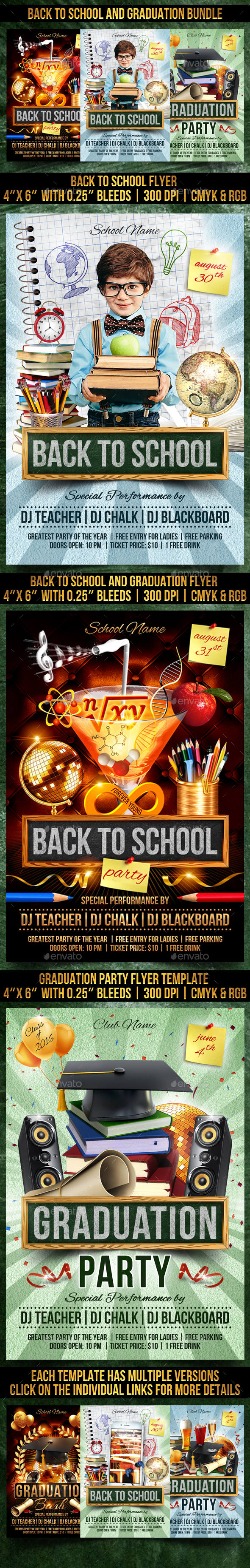 GraphicRiver Back to School and Graduation Bundle 20493500