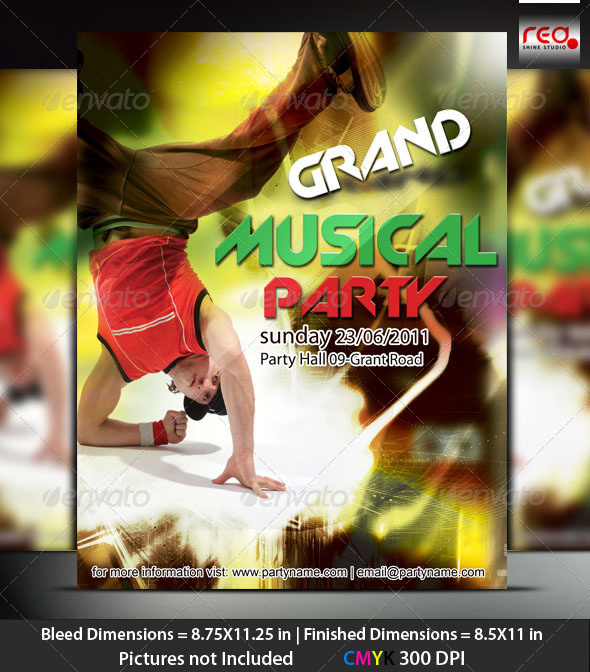Music Night Party Poster/Flyer Template - Clubs & Parties Events