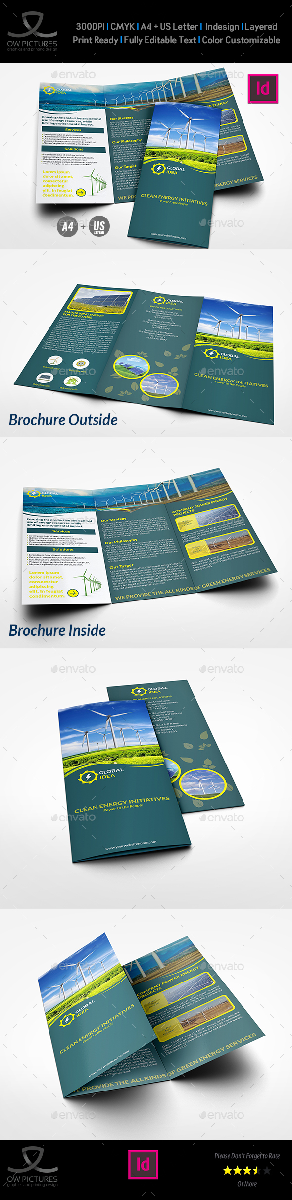Power Energy Services Tri-Fold Brochure Template - Corporate Brochures