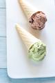 Two cones of nut-flavored ice cream - PhotoDune Item for Sale