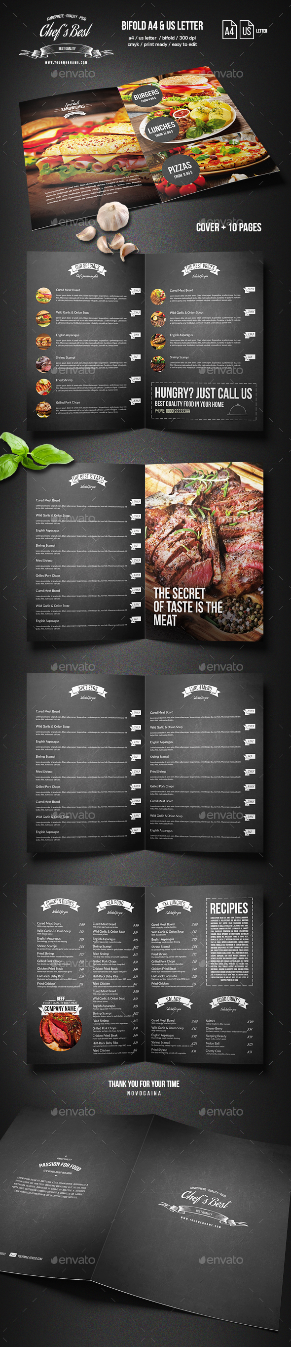 GraphicRiver Chef's Bifold Restaurant Menu A4 and US Letter 20493812