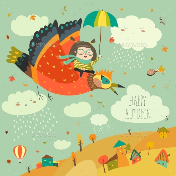 Girl Flying in the Sky with Birds - People Characters