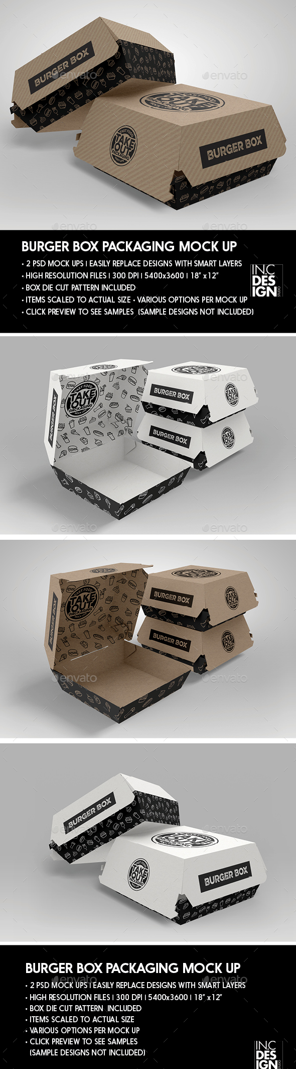 Burger Box Packaging Mock Up - Food and Drink Packaging