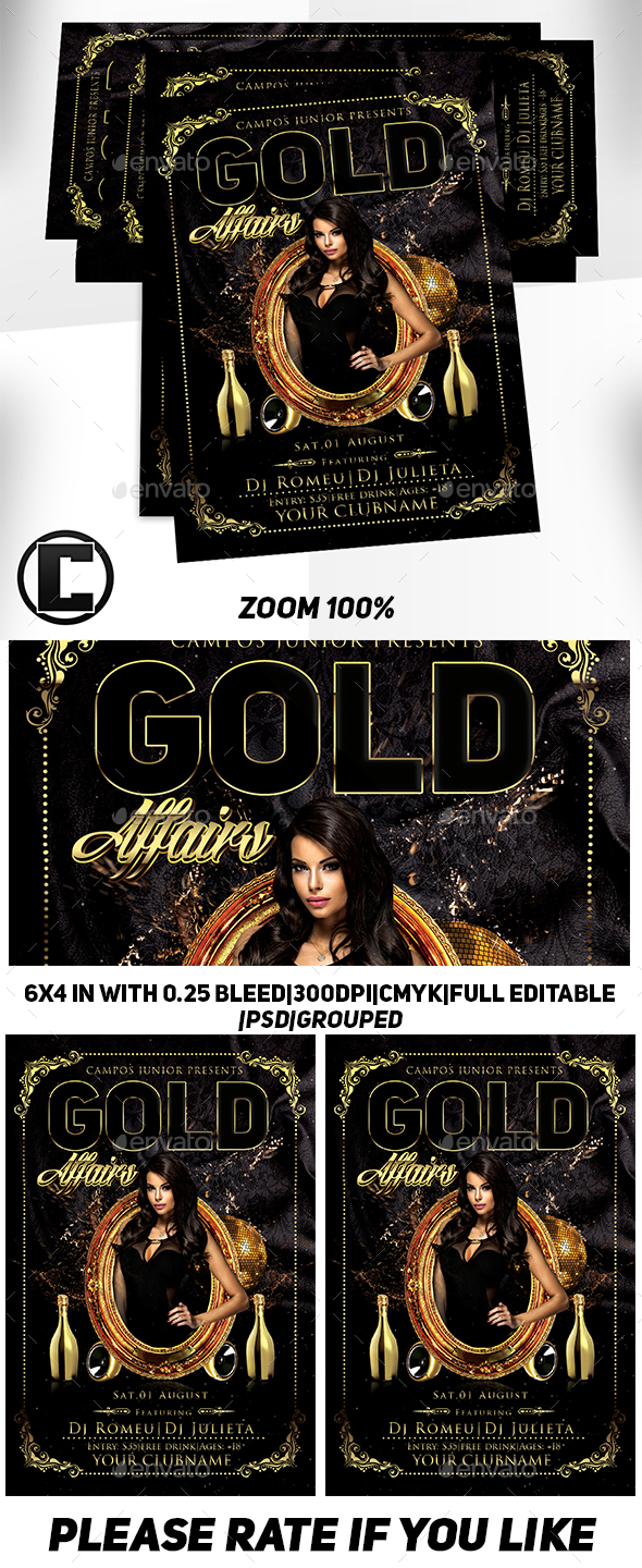Gold Affairs- Flyer Template - Clubs & Parties Events