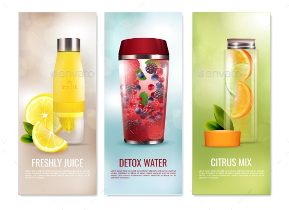 Detox Drinks Banners Set - Food Objects
