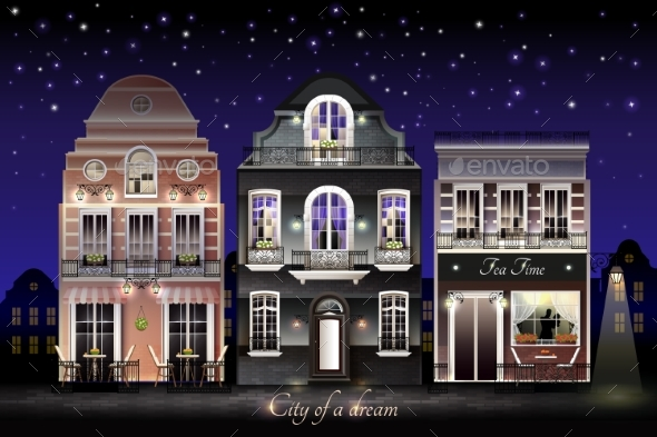 GraphicRiver Old European Houses Illustration 20493898