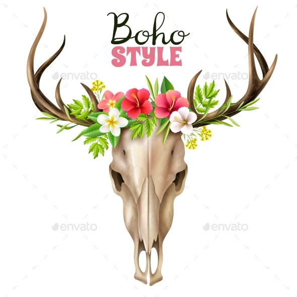 GraphicRiver Boho Skull Illustration 20493911
