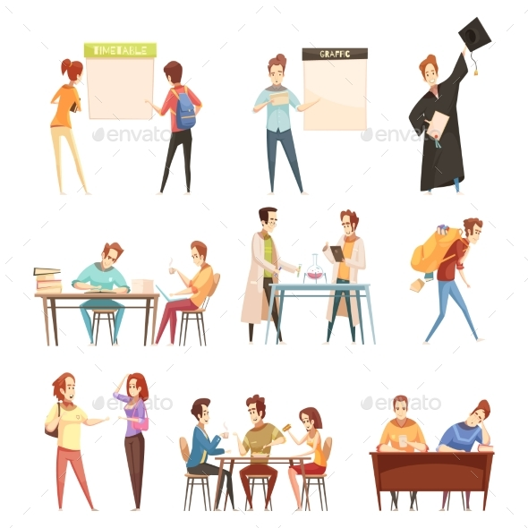 Students Retro Cartoon Set - People Characters