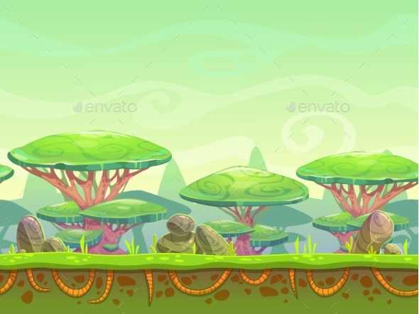 Seamless Cartoon Fantasy Landscape - Landscapes Nature