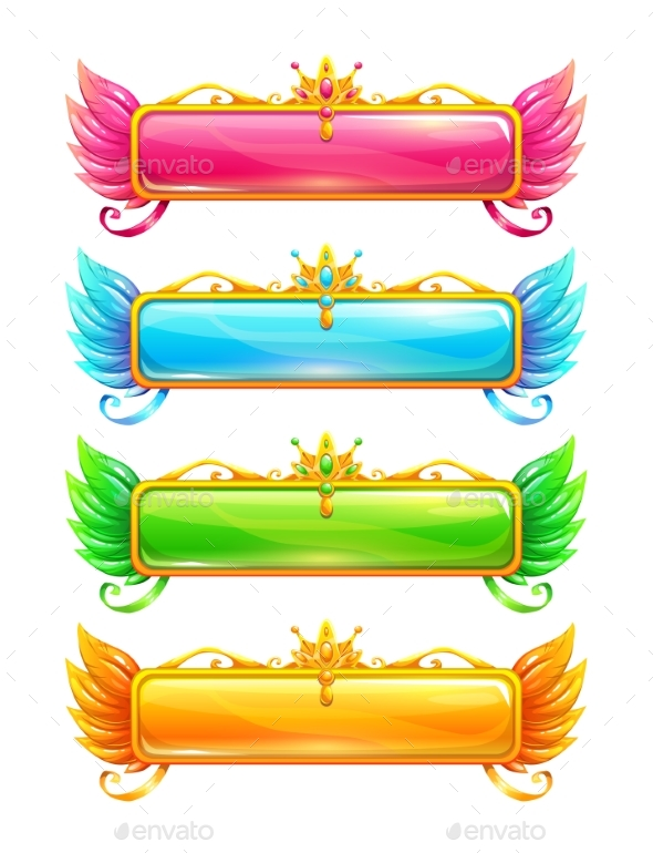 Cartoon Colorful Vector Horizontal Title Banners - Borders Decorative