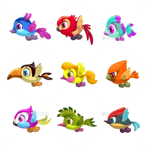cartoon flying birds set by lilu330 graphicriver rh graphicriver net flying bird cartoon pics flying bird cartoon images