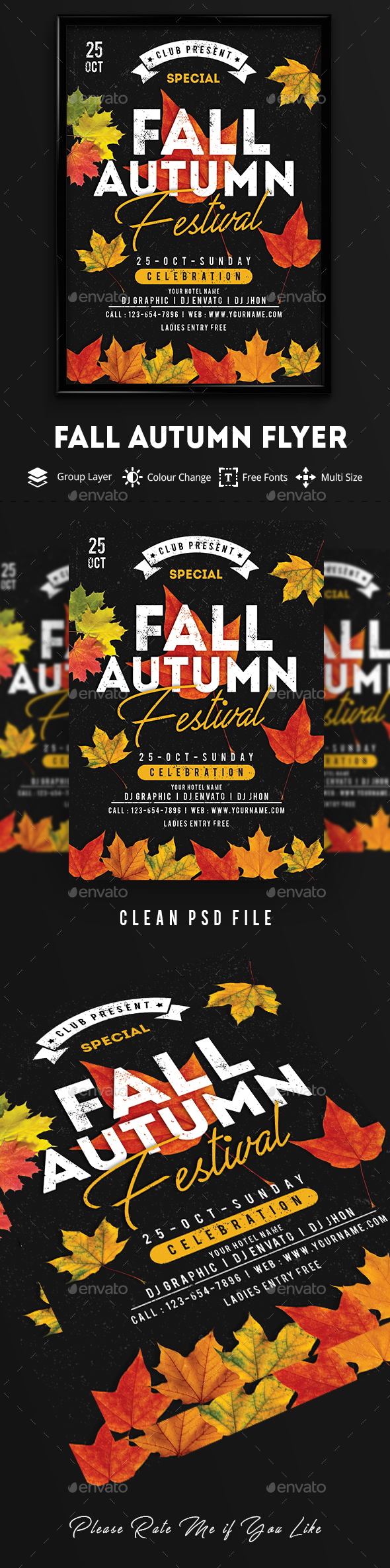 Fall / Autumn Festival Flyer - Clubs & Parties Events